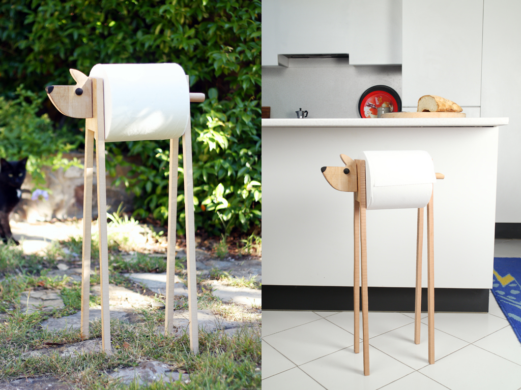 It is a little dog maxi roll holder of Animaliére series of Legnomagia. You can use it in bathroom or kitchen, in garden or workshop, whenever you need to dry hands...It is realized in solid wood of beech EU. Equipped by roll adapter for all dimensions because they are always different each other.
