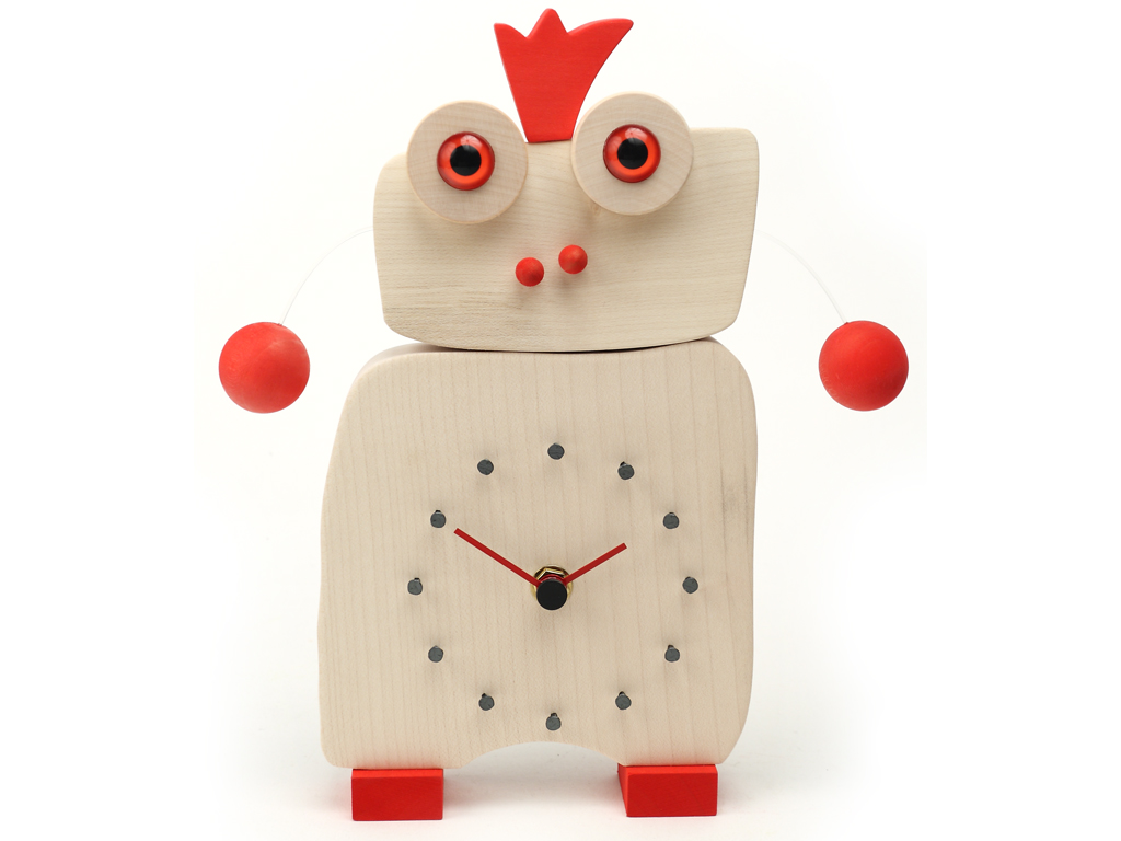 It is a clock which measures time with 12 nails, but it is also an artistic and nice object. You can hang up it on the wall or put it on the table. You can put it everywhere, and not only in kids rooms. It is realized in solid wood EU of white maple and little crown and various accessories red painted.
